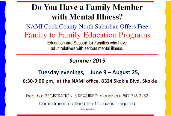 Summer 2015 NAMI CCNS Family to Family Programs