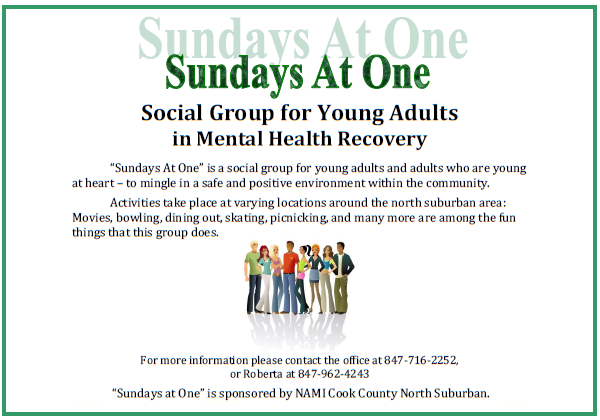 2016 NAMI CCNS Sundays At One - Social Group for Young Adults in Mental Health Recovery