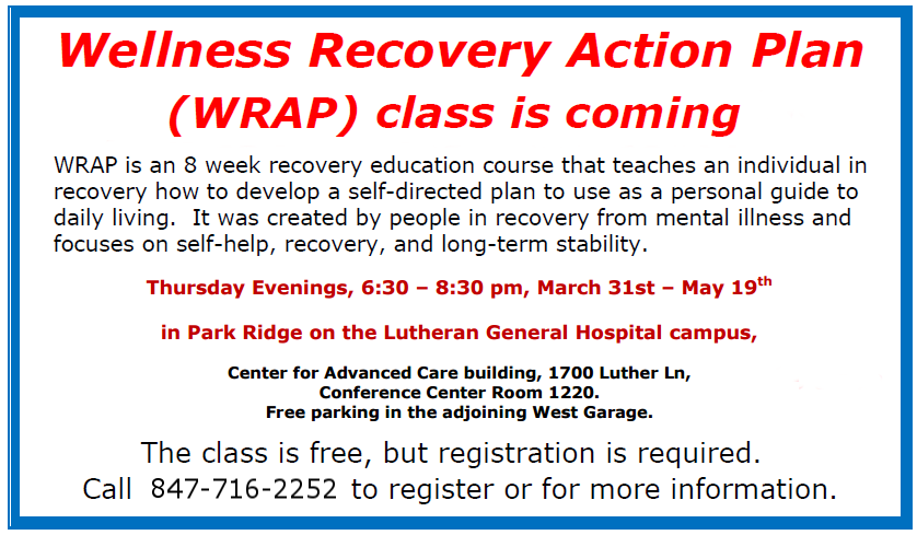 Wellness Recovery Action Plan Wrap Class March 31st May 19th