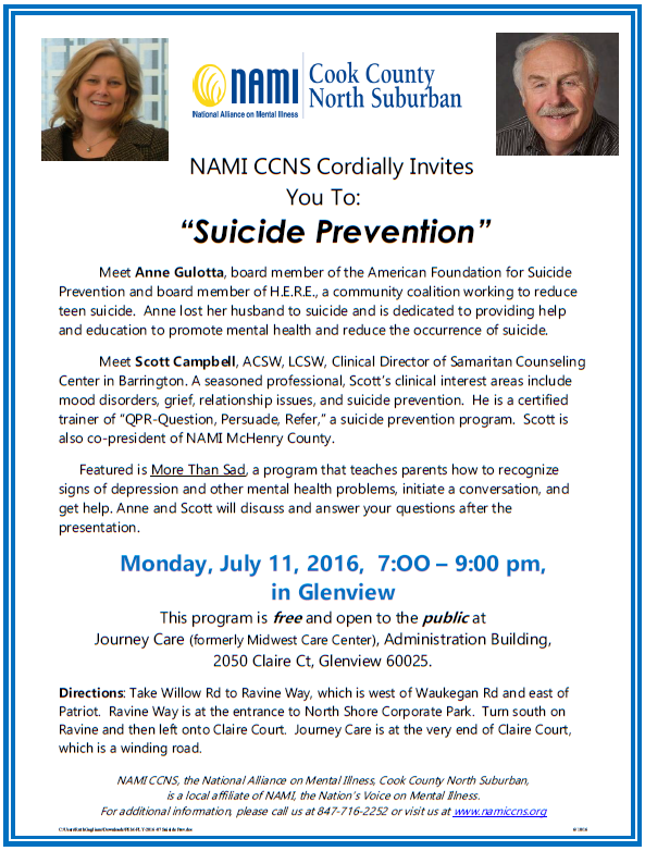 NAMI CCNS - Public Education Meeting - July 11, 2016