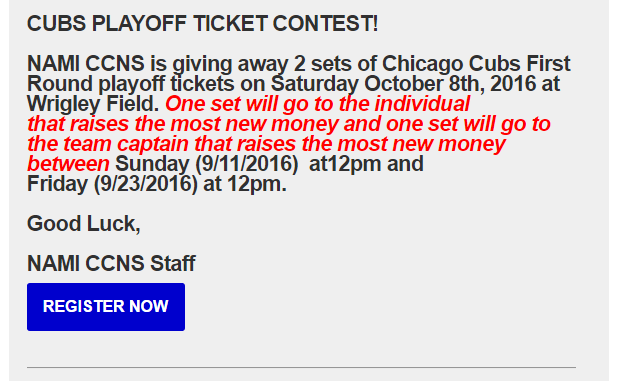 2016 namiccns sept18 walk run cubs promo1 register revised CUBS PLAYOFF TICKET CONTEST!