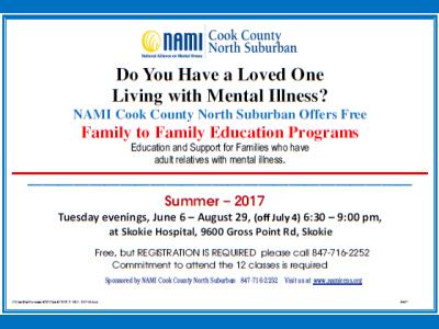 2017 NAMI CCNS Summer Family to Family