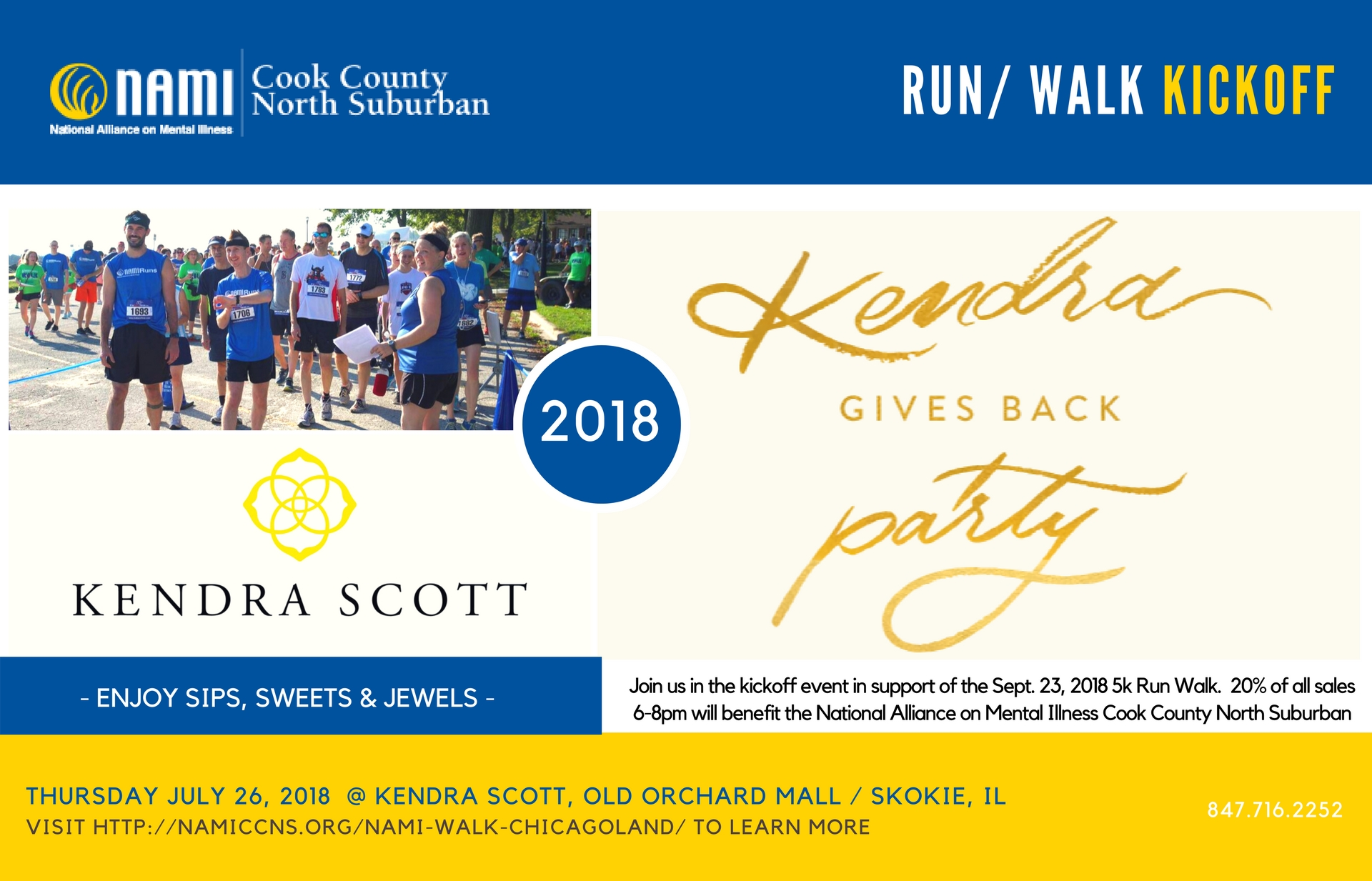 2018 NAMI CCNS RUN/WALK KICKOFF EVENT AT KENDRA SCOTT IN THE OLD ORCHARD MALL!
