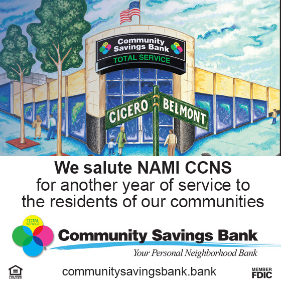 Community Savings Bank Salutes NAMI CCNS for another year of service to the residents of our Northern Chicago Communities!